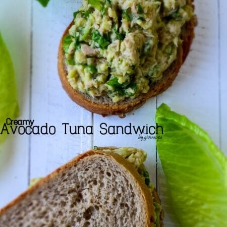 Creamy Avocado Tuna Sandwich | giverecipe.com | #avocado #tuna #sandwich #healthyrecipes