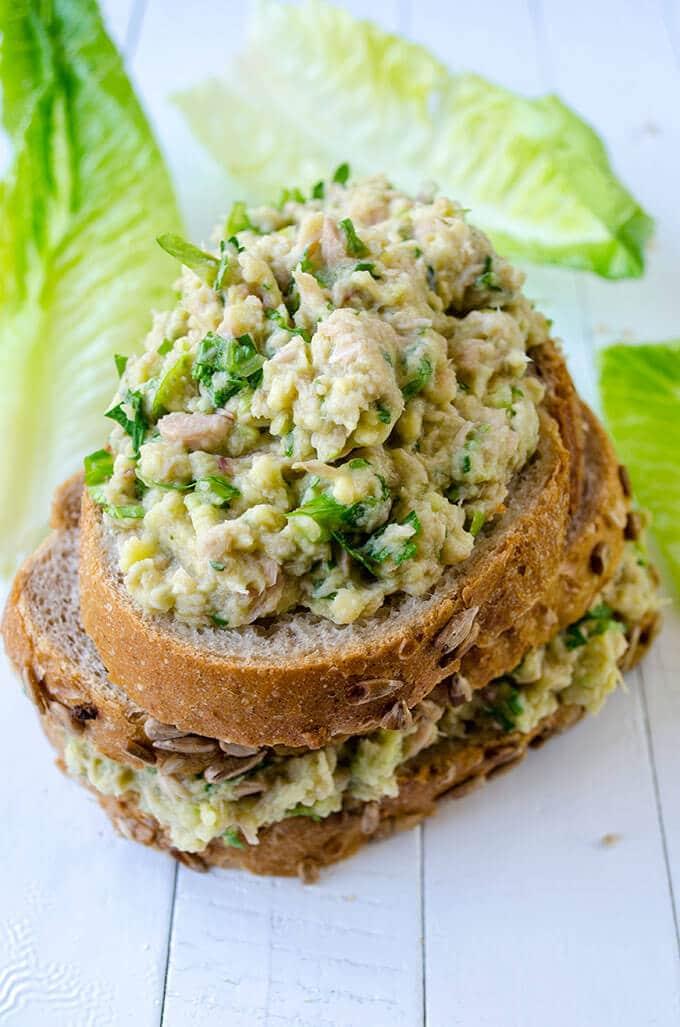 Creamy Avocado Tuna Sandwich | giverecipe.com | #avocado #tuna #sandwich #healthyrecipes