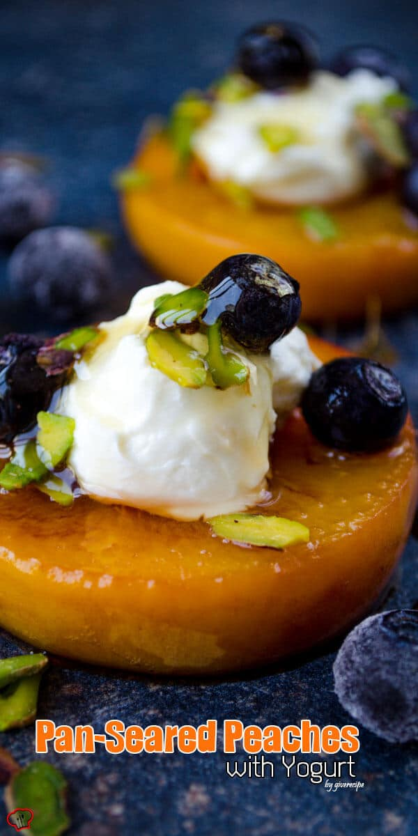 Pan Seared Peaches with Yogurt