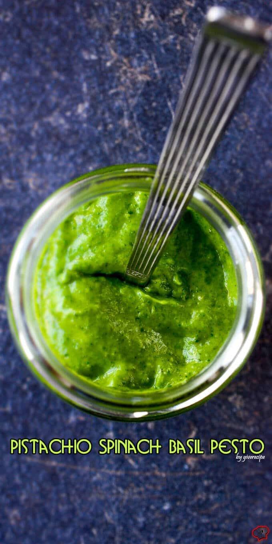Pistachio Spinach Basil Pesto | giverecipe.com | #pesto #basil #spinach #basil #pistachio #sauce