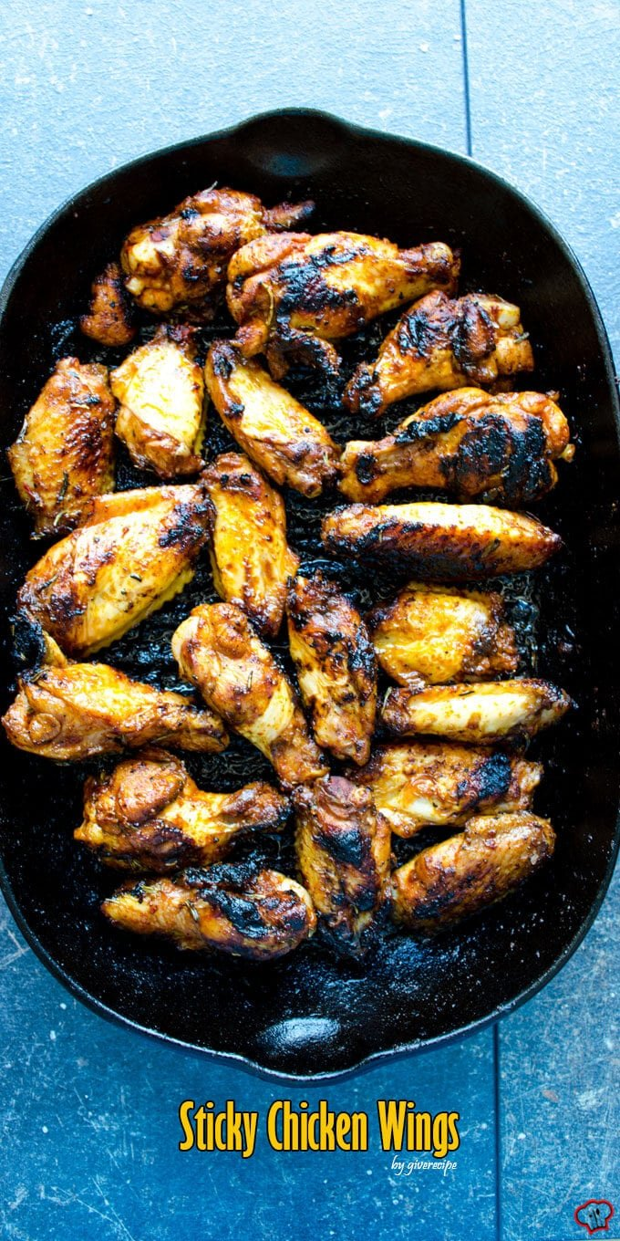 Sticky Chicken Wings | giverecipe.com | #chicken #chickenwings