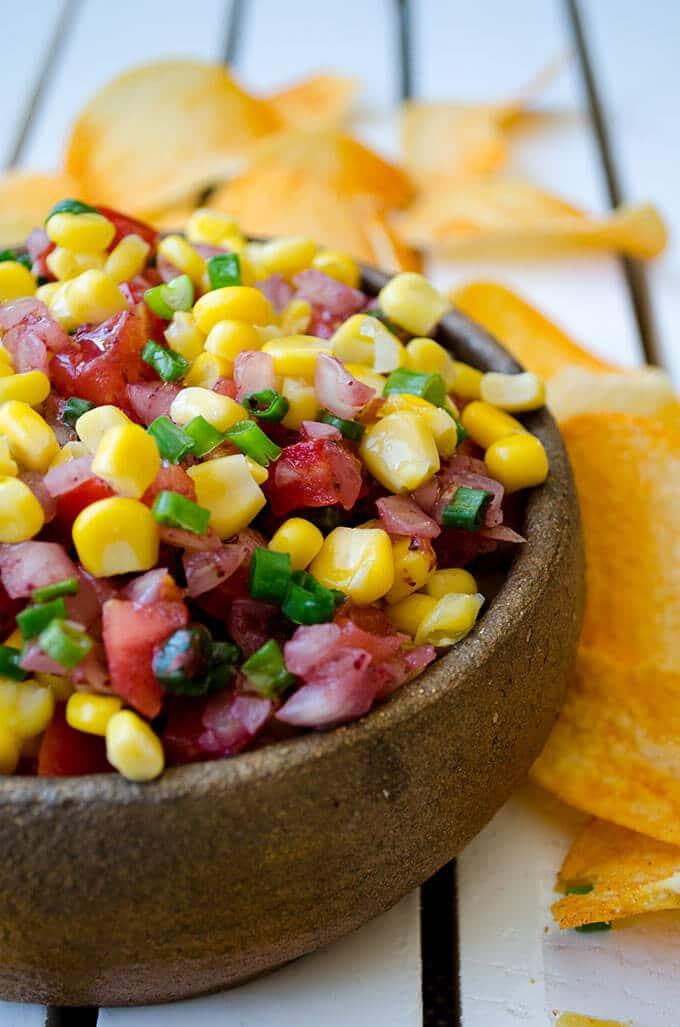 Tangy Tomato and Corn Salsa | giverecipe.com | #salsa #corn #tomato #dip #sumac #tangy #healthy