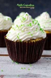 Apple Cupcakes with Cream Cheese Frosting | giverecipe.com | #applecupcakes