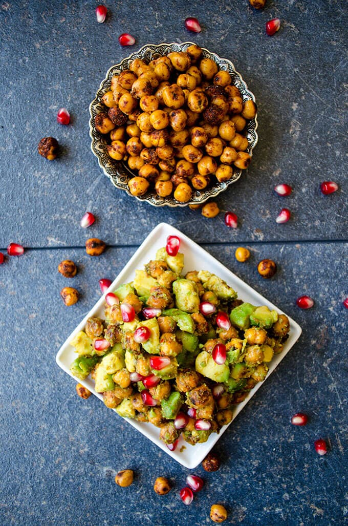 Avocado Chickpea Salad with pomegranate seeds is packed with flavors. Spicy, tangy and addictive! This is a scrumptious gluten free and vegan side dish you can eat even as a snack.