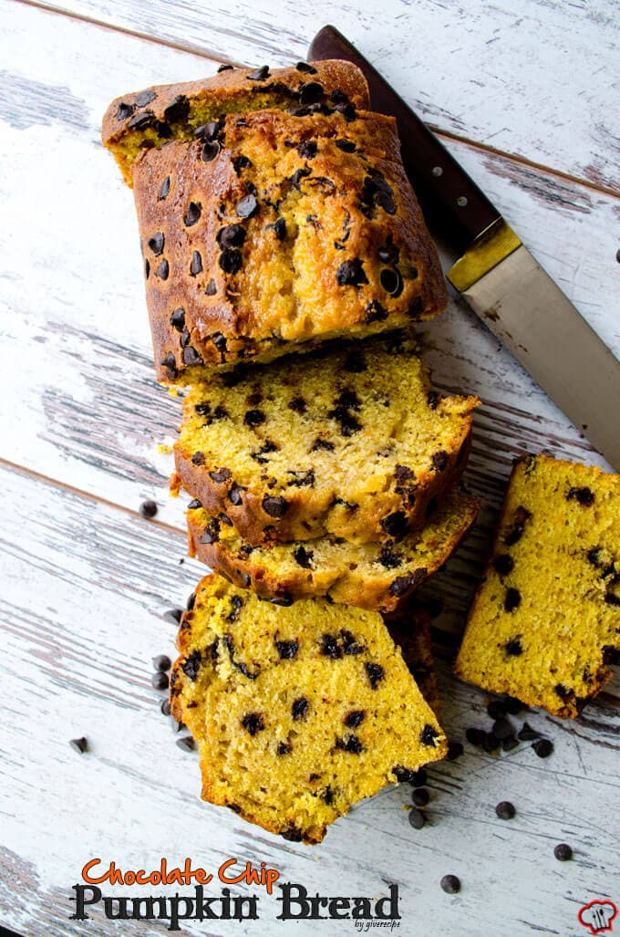 Pumpkin bread chocolate chip bread sliced on a light background