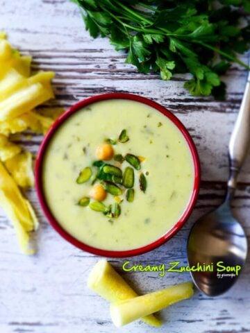 Creamy Zucchini Soup | giverecipe.com | #soup #zucchini #creamysoup #fallrecipes #vegetarian