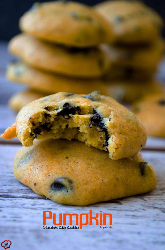 Pumpkin Chocolate Chip Cookies | giverecipe.com | #pumpkin #chocolatechips #cookies #baking #fall #fallrecipes