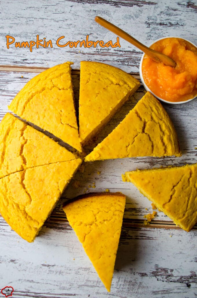 Pumpkin Cornbread | giverecipe.com | #pumpkin #cornbread #bread #baking #fall #fallrecipes