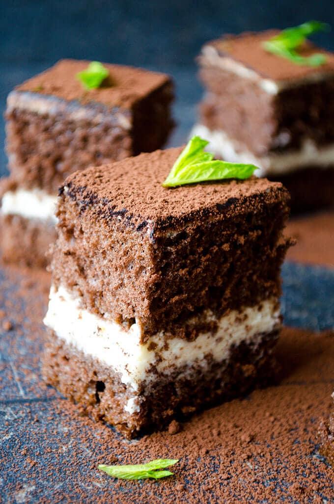 Tiramisu Cake Squares | giverecipe.com | #tiramisu #cake #chocolatecake #tiramisucake #tiramisufilling #tiramisufrosting #mascarpone