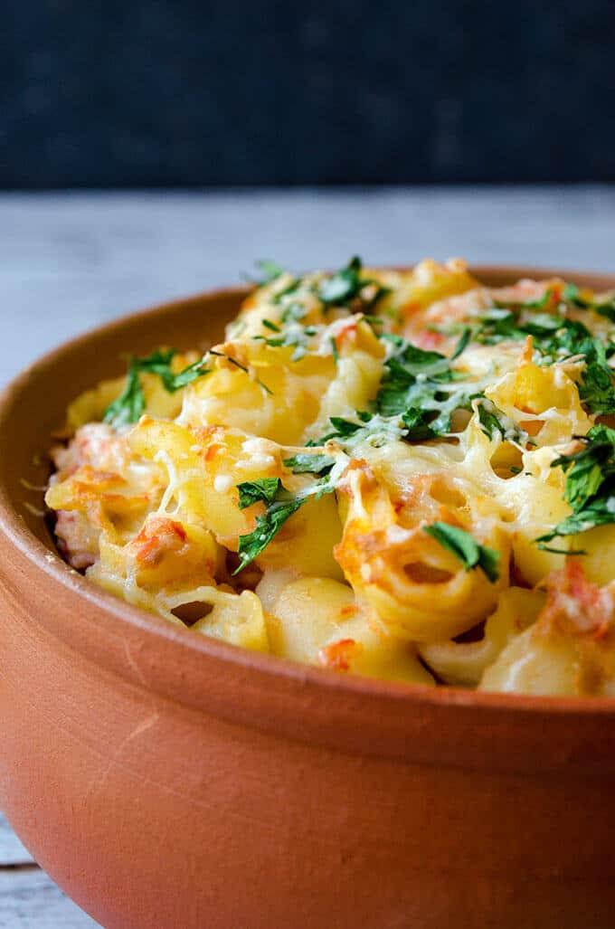 Tuna Pasta Bake with Tomatoes | giverecipe.com | #tuna #pasta #seafood #casserole #pastabake
