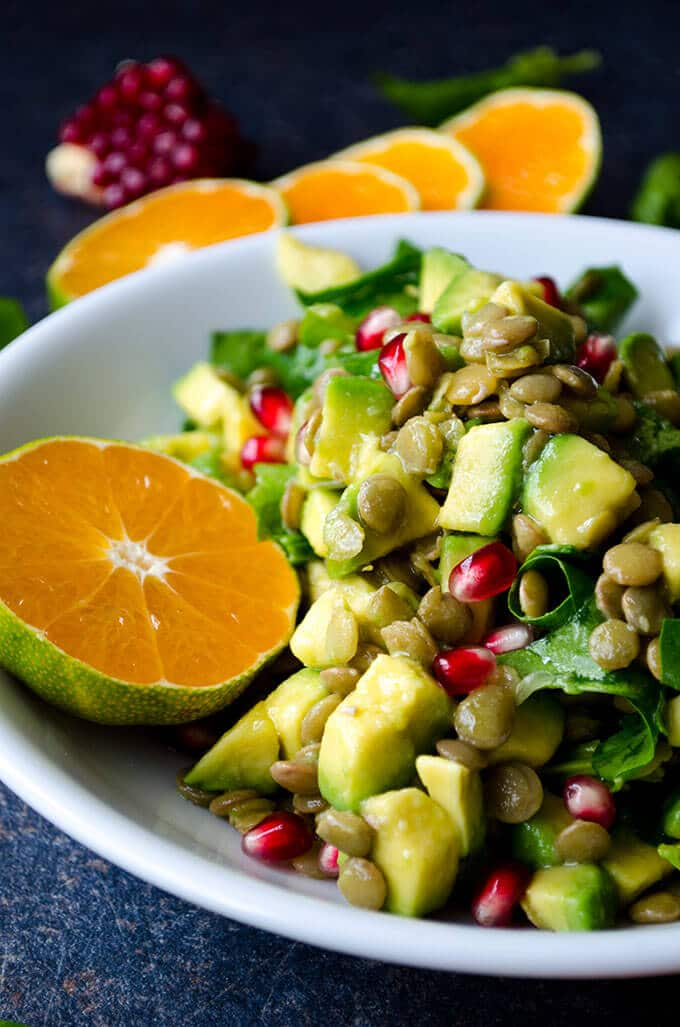 Vegetarian Lentil Salad with fall fruit and avocado