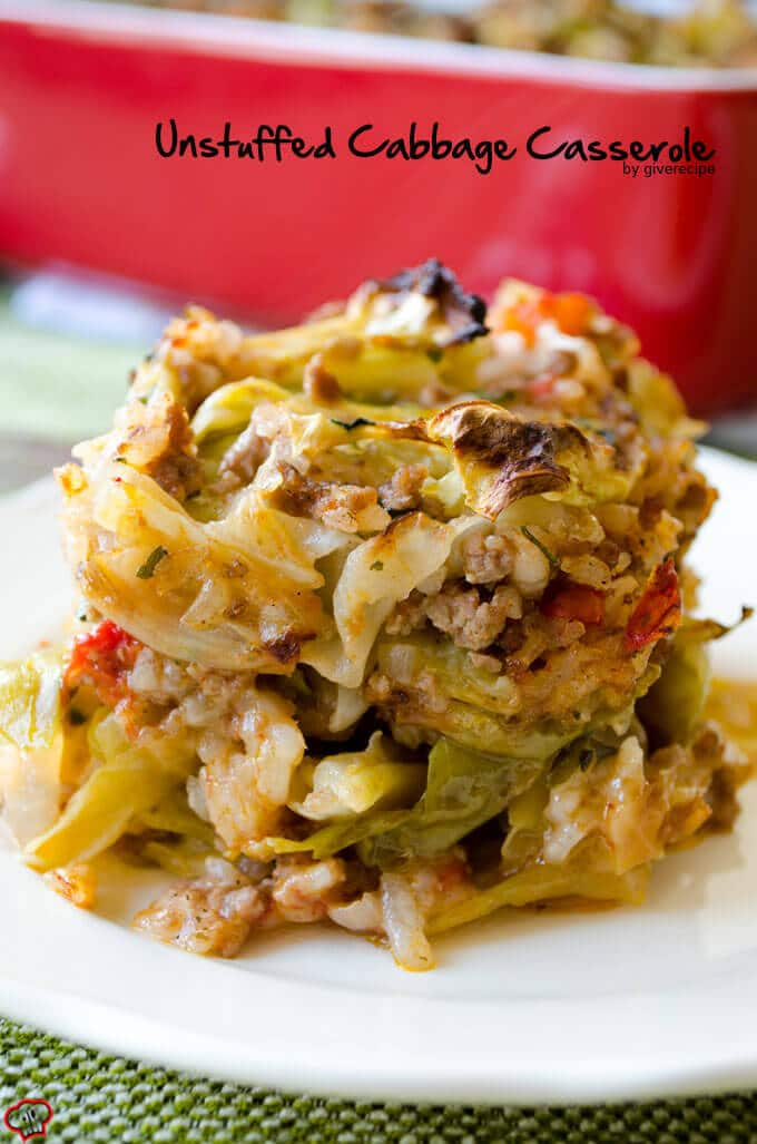 A slice of unstuffed cabbage roll casserole served on a white plate