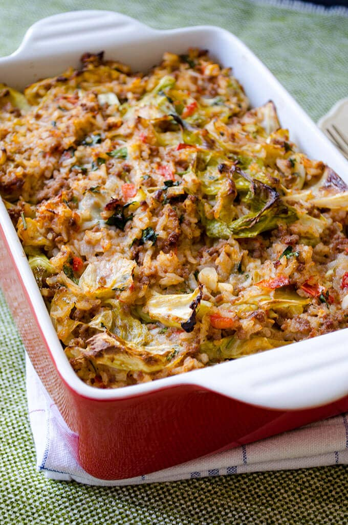 Unstuffed Cabbage Casserole with beef and rice in a casserole pan right from oven