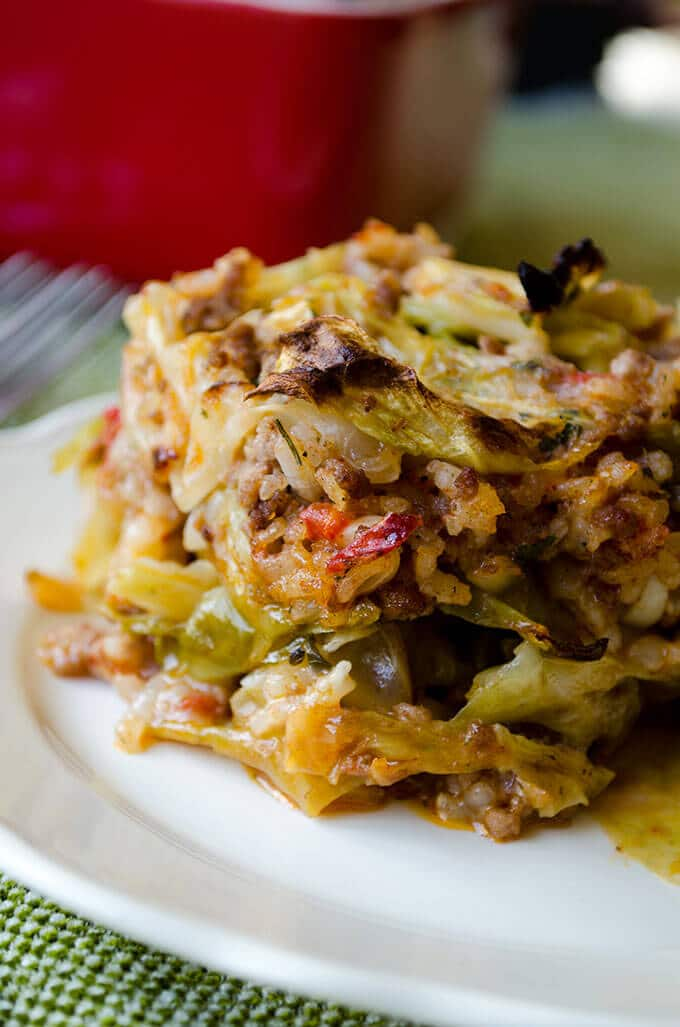 Unstuffed cabbage roll casserole with rice and beef served on a white plate