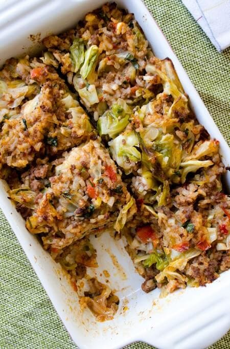 Unstuffed cabbage casserole with ground beef and rice in a baking pan