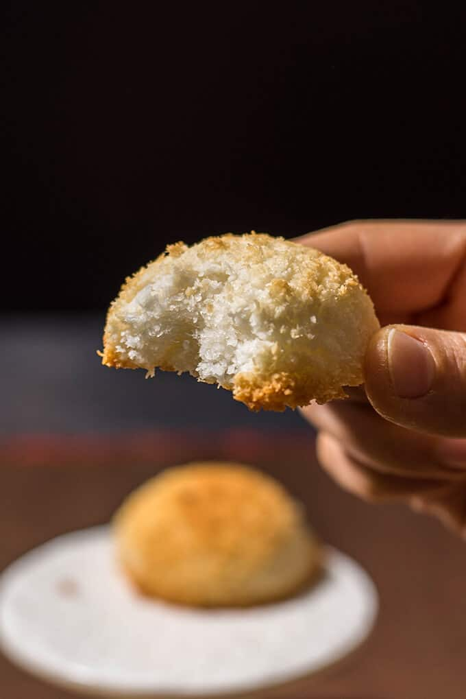 You need just three ingredients for these coconut macaroons and they are ready to go in the oven in 10 minutes. These are glutenfree too.
