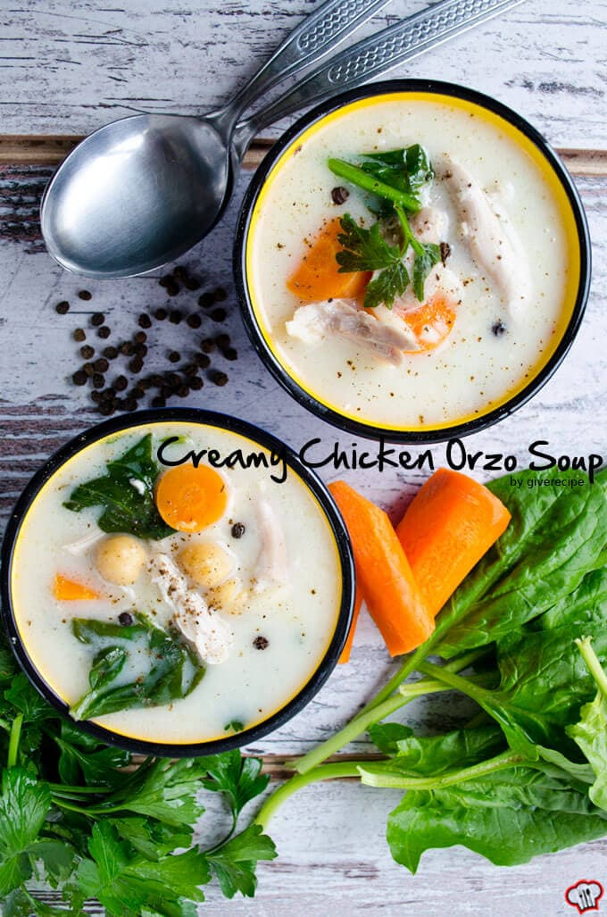 Creamy Chicken Orzo Soup | giverecipe.com | #chicken #soup