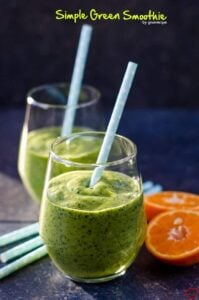 Simple Green Smoothie | giverecipe.com | #smoothie #avocado