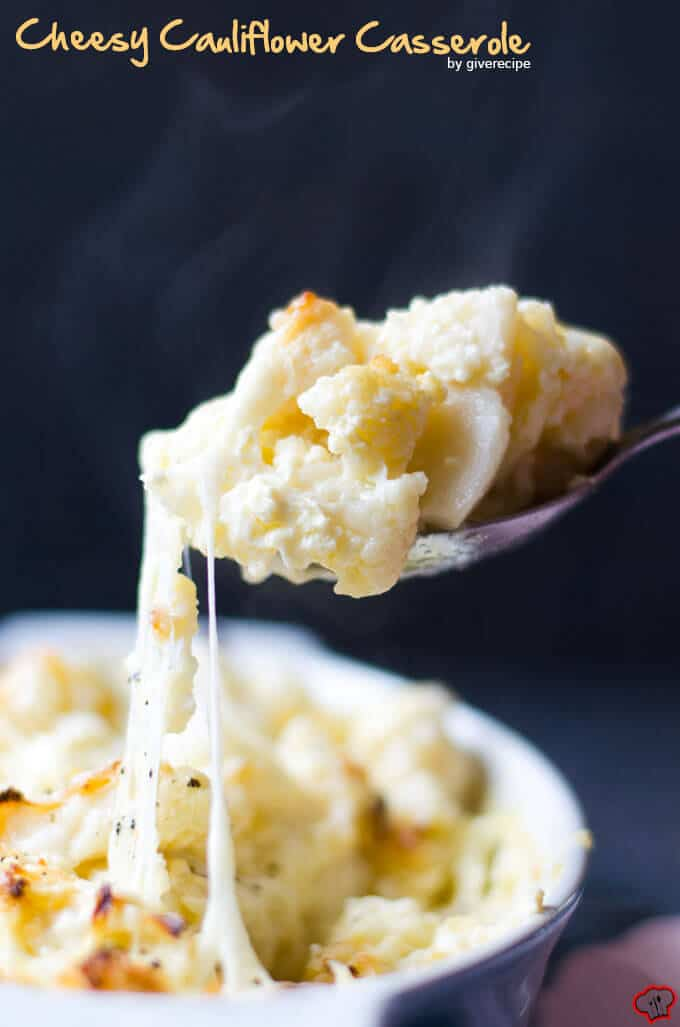 Cheesy Cauliflower Casserole in a baking pan