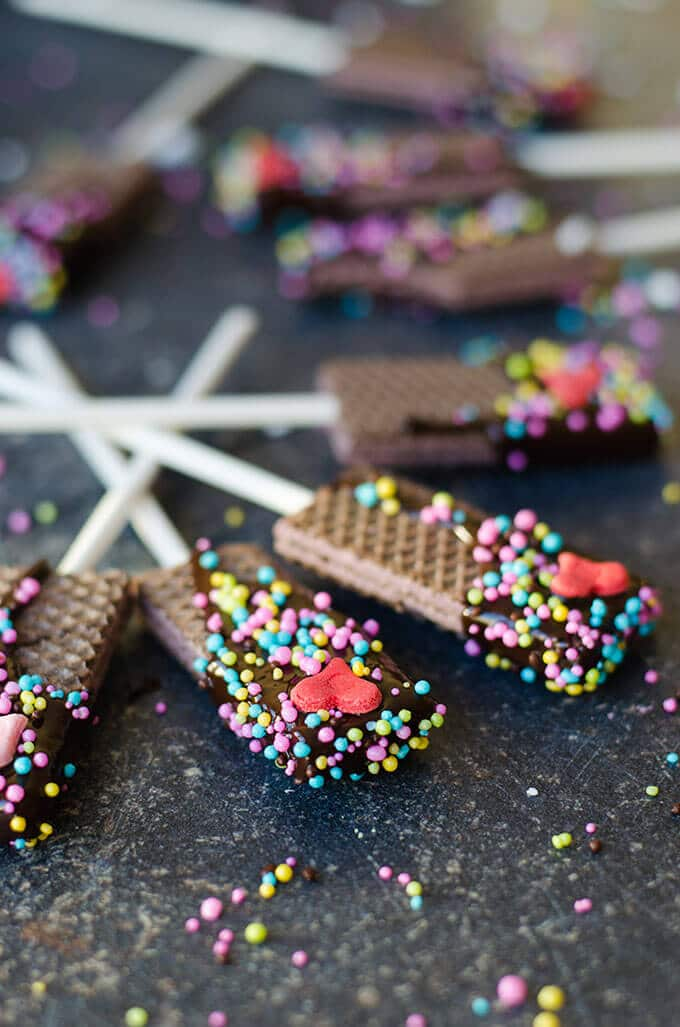 Chocolate Dipped Wafer Cookies |giverecipe.com | #wafers #valentine's