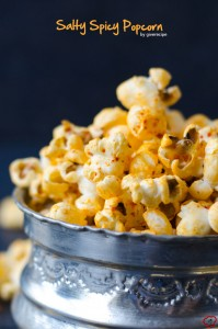 Salty Spicy Popcorn | giverecipe.com | #popcorn #superbowl