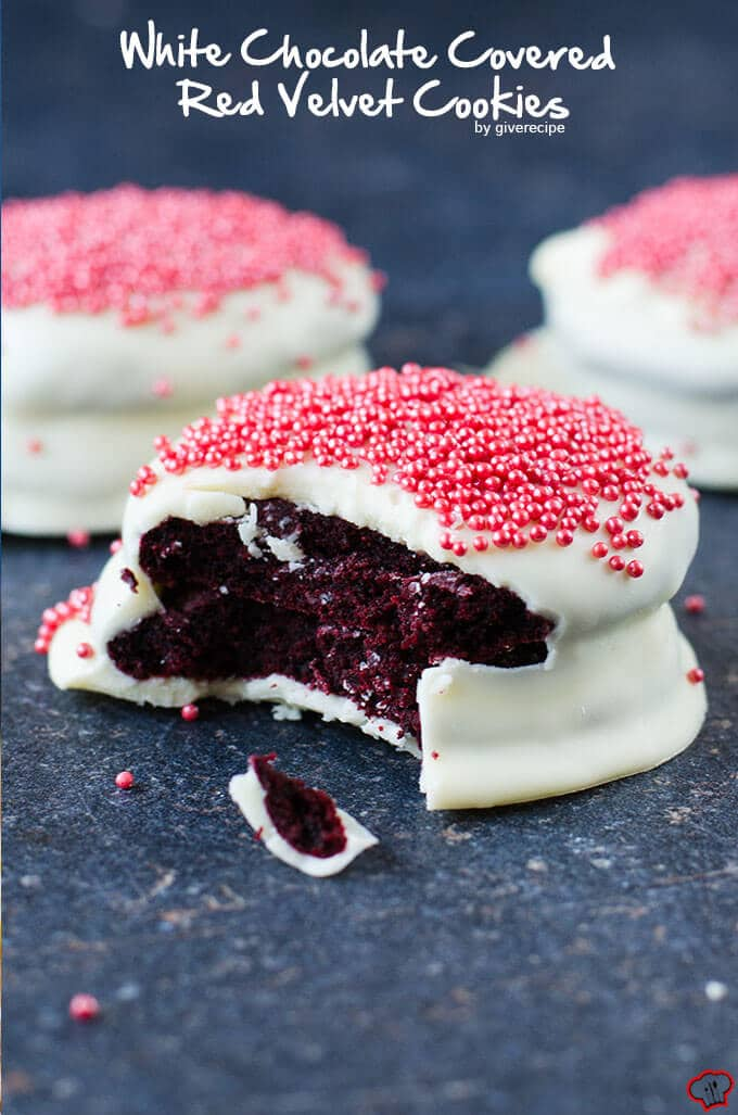 White Chocolate Covered Red Velvet Cookies | giverecipe.com | #cookies #redvelvet
