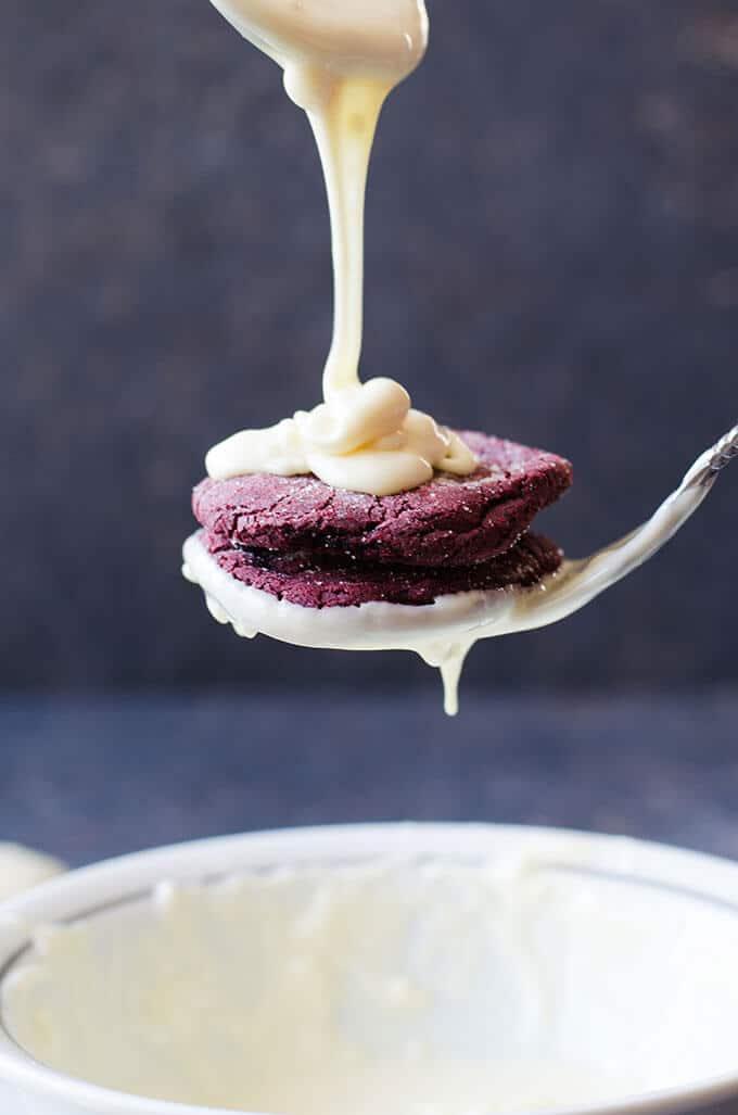 White Chocolate Covered Red Velvet Cookies   giverecipe.com   #cookies #redvelvet
