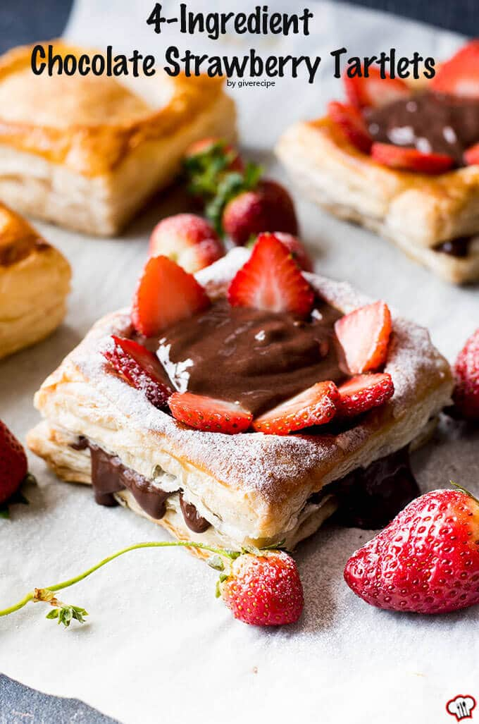 4-Ingredient Chocolate Strawberry Tartlets | giverecipe.com | #strawberry #puffpastry