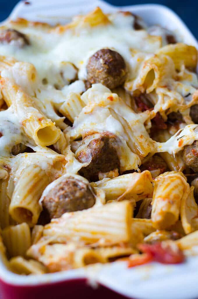 Cheesy Meatball Pasta Casserole | giverecipe.com | #pasta #casserole