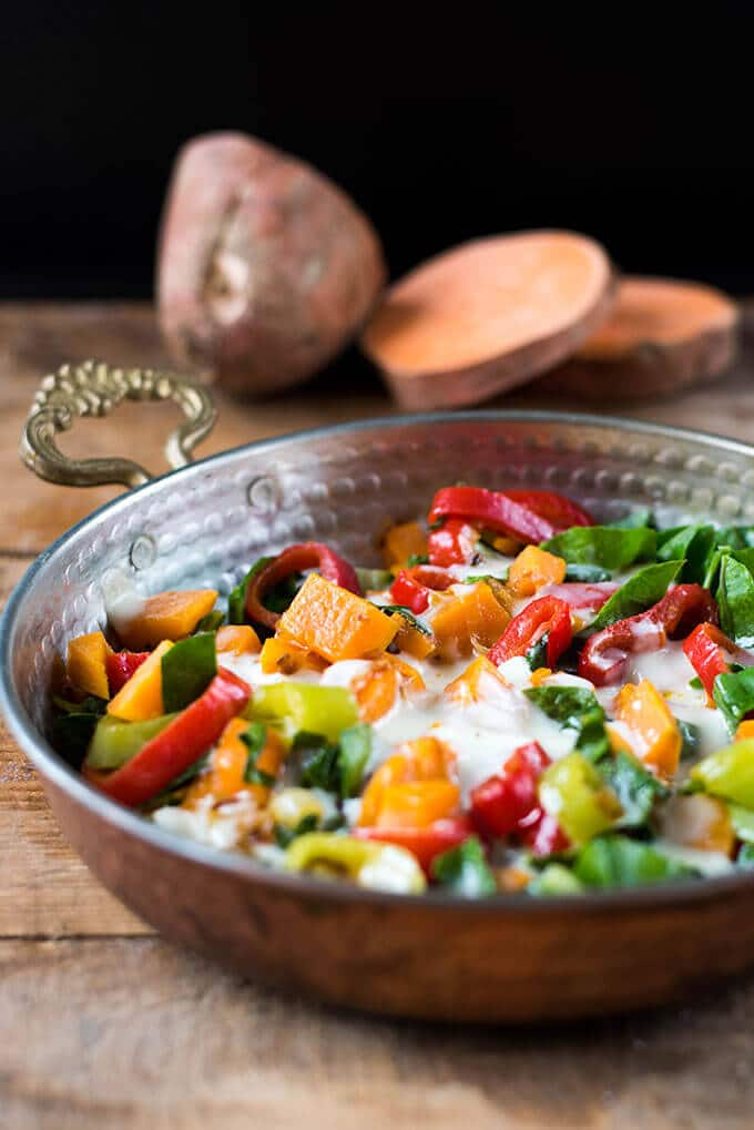 Sweet Potato and Kale Skillet | giverecipe.com | #sweetpotato #kale