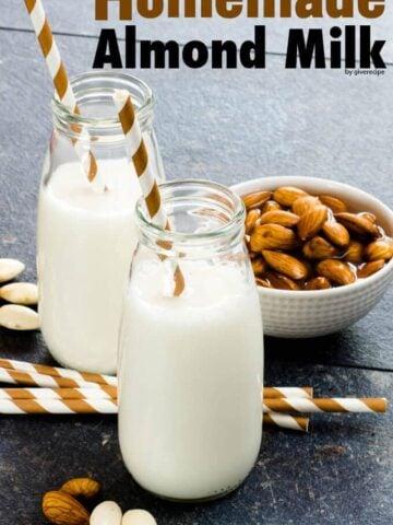 Homemade Almond Milk | giverecipe.com | #vegan #almondmilk