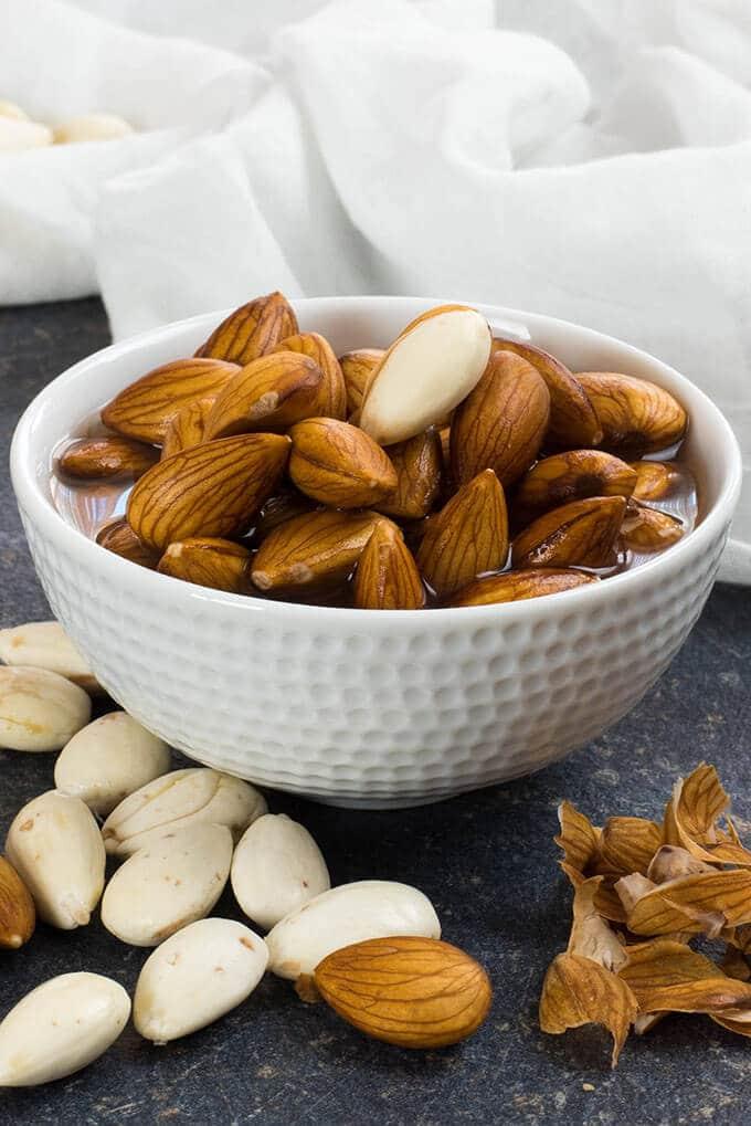 Soaked raw almonds for making vegan milk