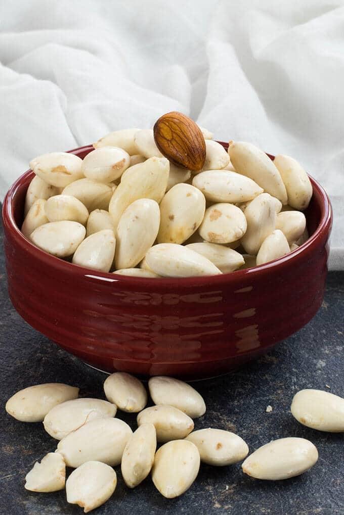 Peeled raw almonds to make dairy free milk