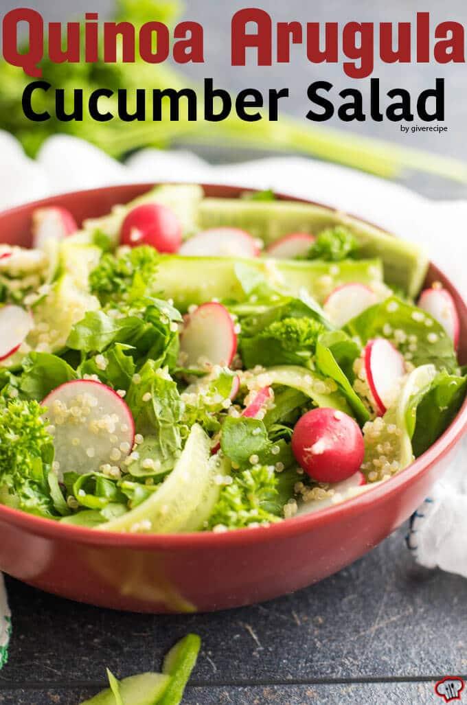 Quinoa Arugula Cucumber Salad | giverecipe.com | #quinoa #arugula