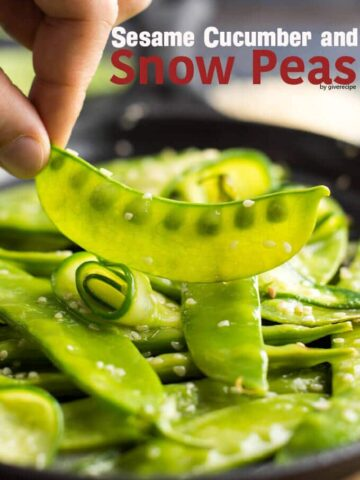 Sesame Cucumber and Snow Peas | giverecipe.com | #snowpeas
