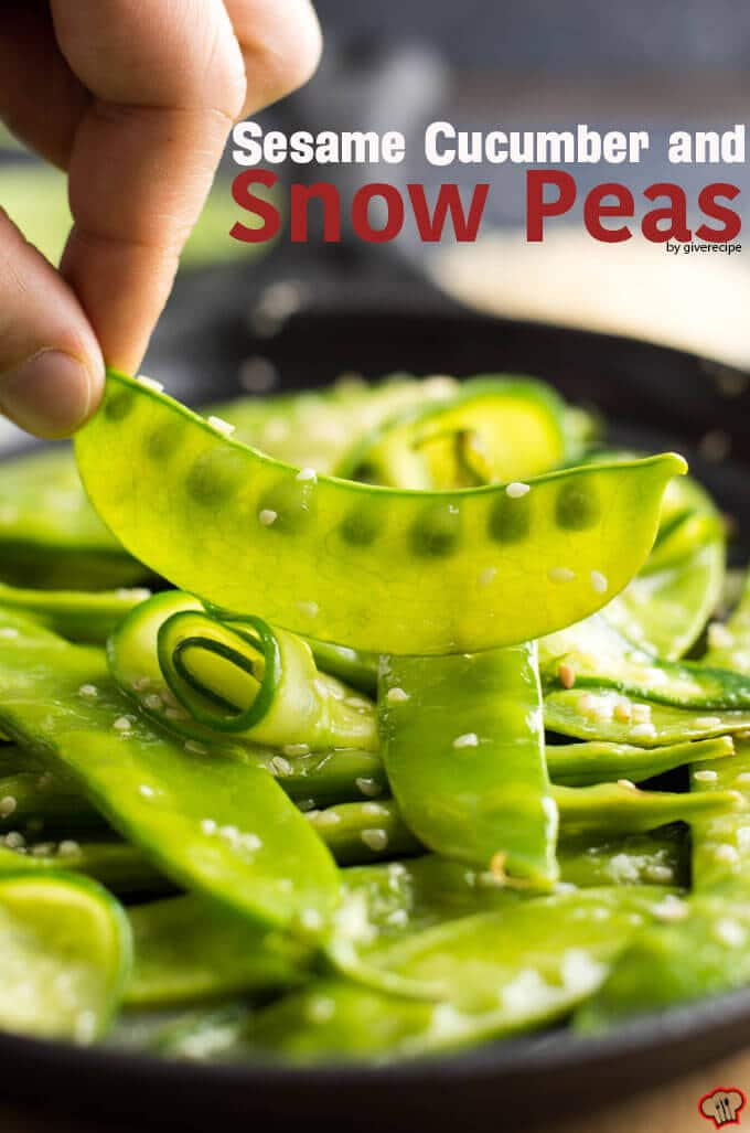 Sesame Cucumber and Snow Peas   giverecipe.com   #snowpeas