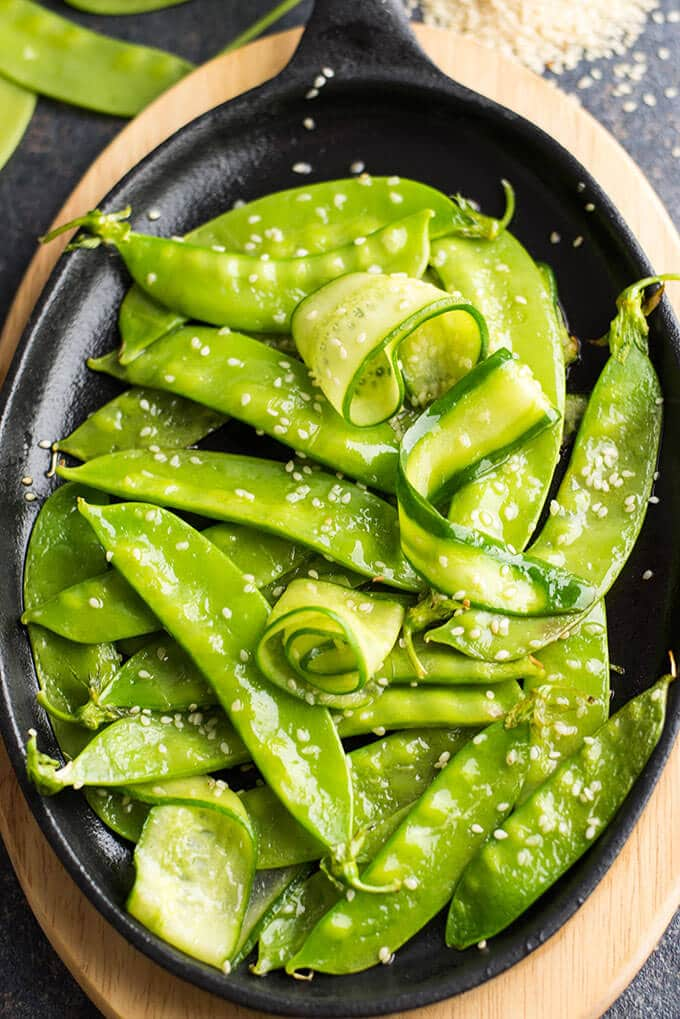 Sesame Cucumber and Snow Peas | giverecipe.com | #snowpeas