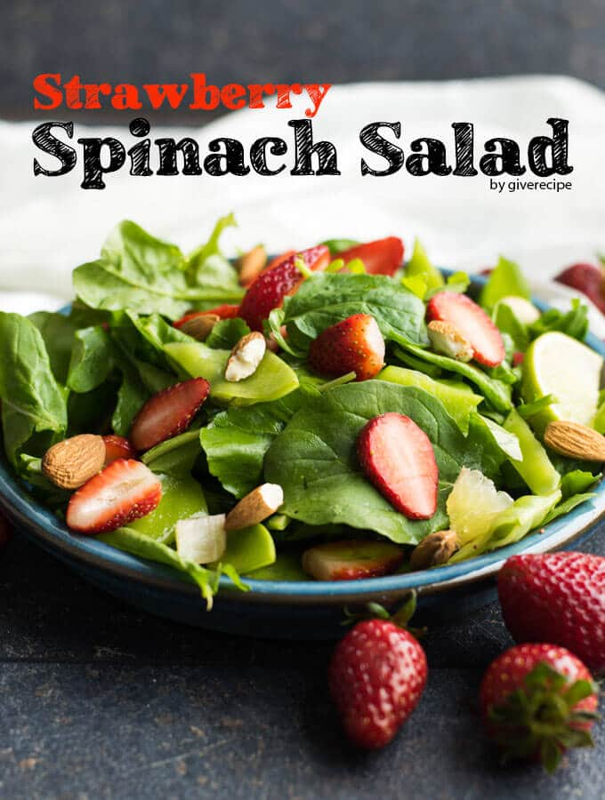 Strawberry Spinach Salad | giverecipe.com | #strawberry #spinach