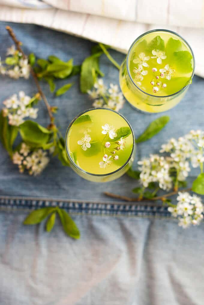 Ginger lemonade served with spring blossoms in two glasses