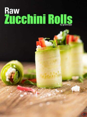 Raw Zucchini Rolls | giverecipe.com | #zucchini #rawfood