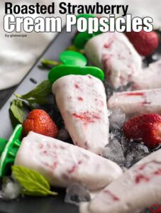 Roasted Strawberry Cream Popsicles