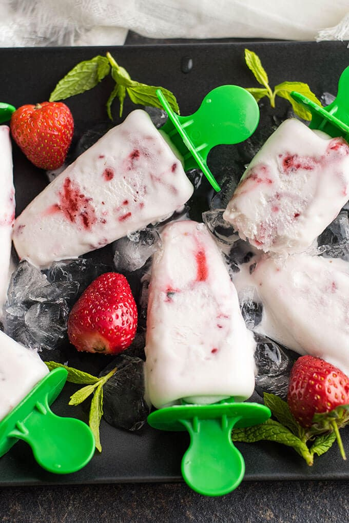 Roasted Strawberry Cream Popsicles | giverecipe.com | #strawberry #popsicles