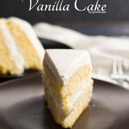 Simple Vanilla Cake | giverecipe.com | #whitecake #vanillacake