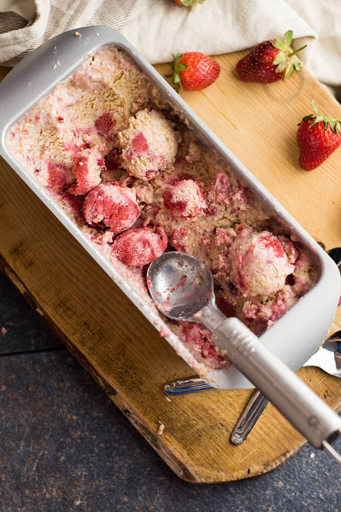 Strawberry Cheesecake Ice Cream Recipe in a loaf pan