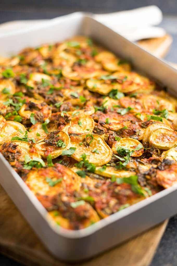 Vegan Tomato Zucchini Casserole in a baking pan