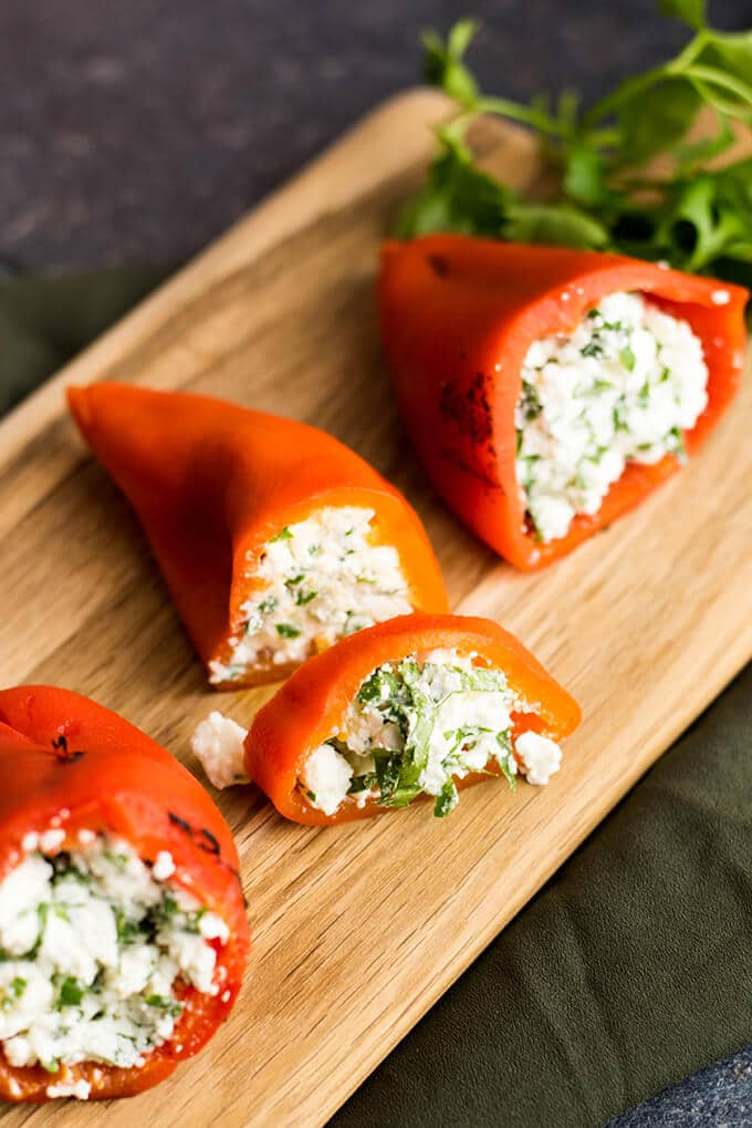 Feta Stuffed Red Bell Peppers make perfect appetizers for parties ...