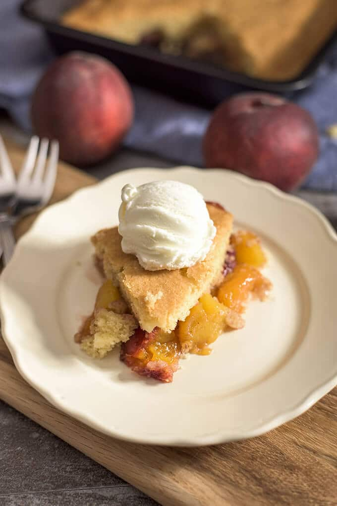 The EASIEST peach cobbler ever! You can serve it almost like a pie. A real foolproof recipe! This will be your ultimate cobbler recipe to use with any fruit. - giverecipe.com