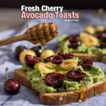 Top your avocado toasts with some fresh cherries and enjoy the easiest yet yummiest breakfast ever! - giverecipe.com
