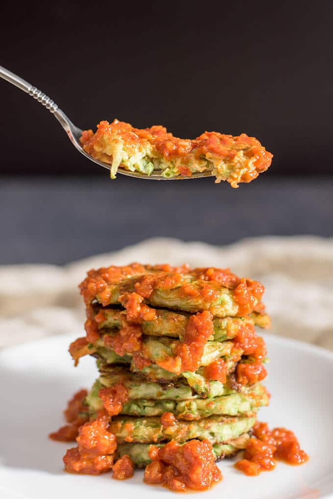 Gluten-Free Zucchini Fritters loaded with mozzarella and flavored with garlic. - giverecipe.com