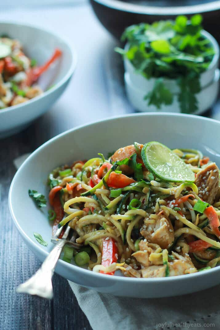 Thai Chicken Zoodles with Spicy Peanut Sauce by Joyful Healthy Eats